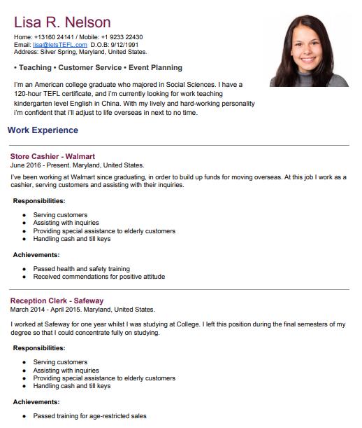 esl-job-resume-example - Let\'s TEFL