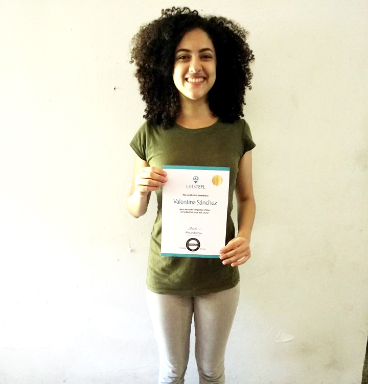 Victoria with her TEFL certificate